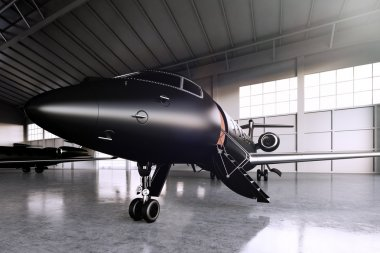 Closeup photo of Black Matte Luxury Generic Design Private Jet parking in hangar airport. Concrete floor. Business Travel Picture. Horizontal, front angle view. Film Effect. 3D rendering.