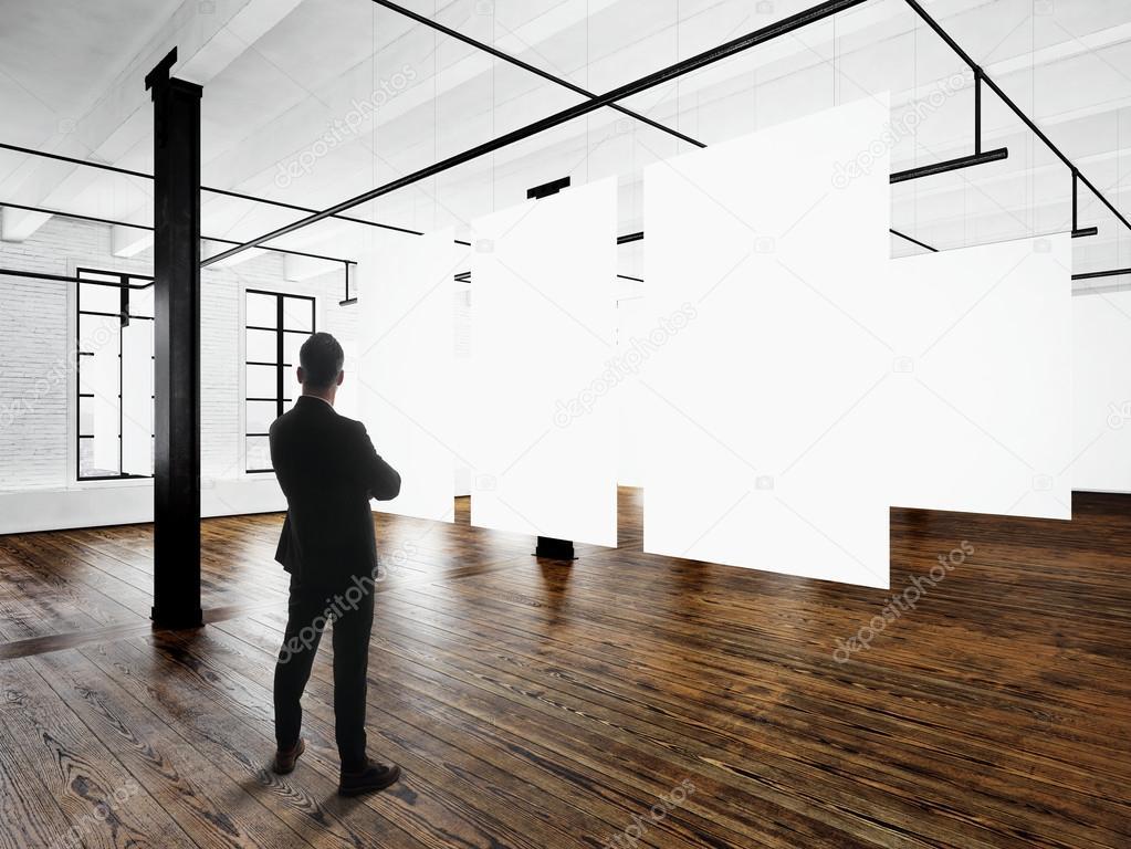 Gentleman modern art museum expo loft interior open space for Afbeeldingen interieur