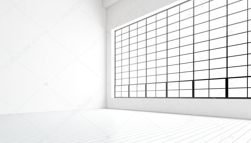 Vac o sal n moderno con enormes ventanas panor micas piso - Salon piso moderno ...