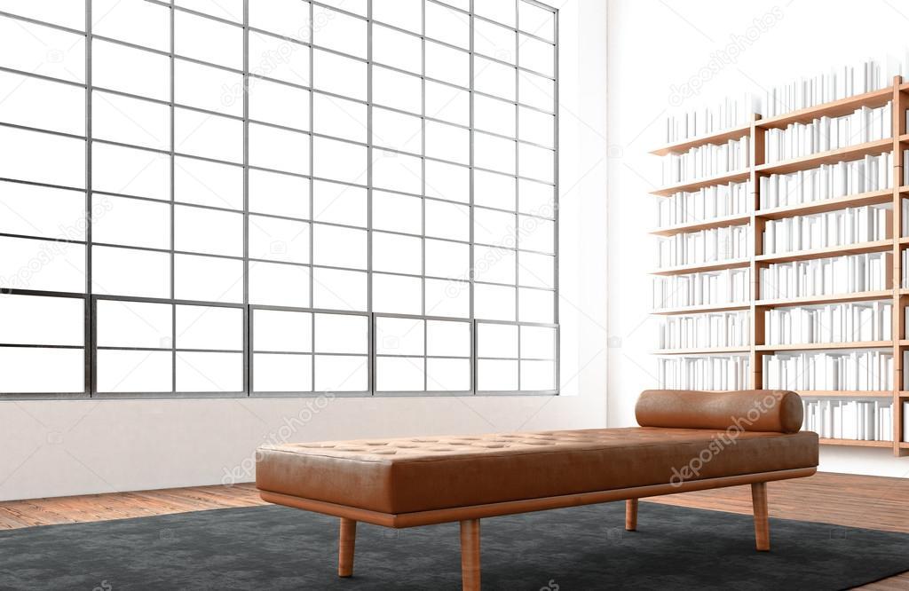 Moderner Offener Raum Innen Loft Riesige Panoramafenster, Natürliche Farbe  Boden. Generische Designmöbel Im Modernen