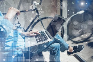 Woman Touching Keyboard Laptop Hand.Project Manager Researching Process.Business Team Working Startup modern Office.Global Strategy Virtual Icon.Innovation Chart Interface.Analyze market stock.Blur