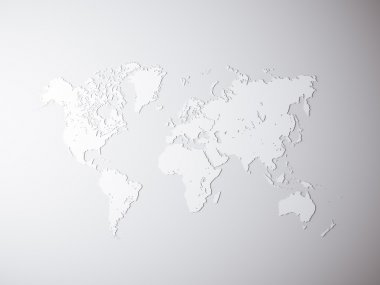 Blank Grey Political World Map. 3D rendering. Empty concrete wall background. High textured row materials. Mockup ready for business information. Horizontal.
