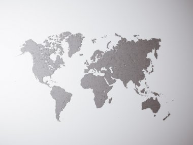 Blank Grey Concrete Texture Political World Map. 3D rendering. Empty wall background. High textured row materials. Mockup ready for business information. Horizontal.