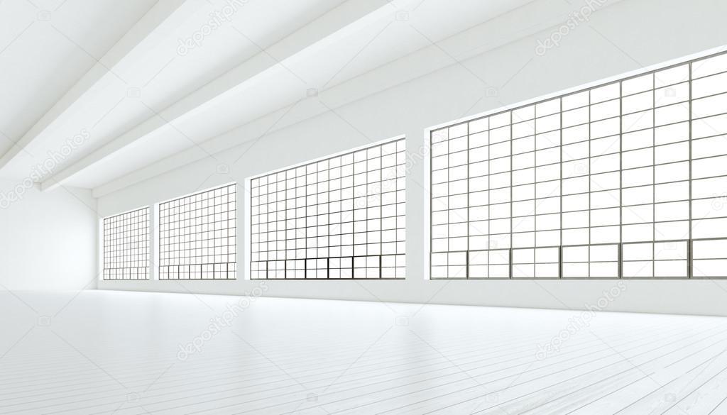 Empty Modern Industrial Room With Huge Panoramic Windowspainted White Wood Floor And Blank Walls
