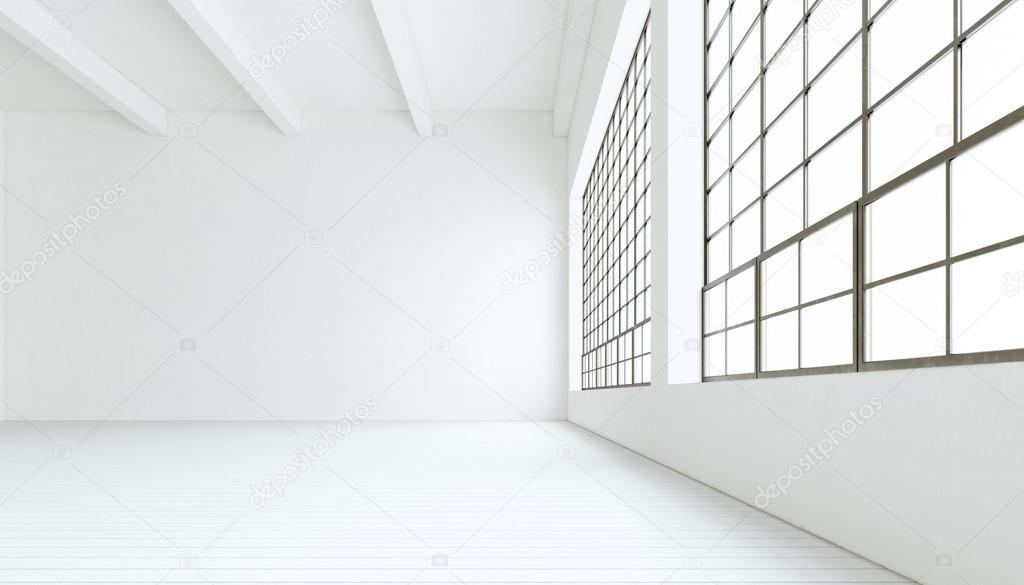 Blank Modern Industrial Room With Huge Panoramic Windowspainted White Wood Floorempty Walls3D RenderingGeneric Design Interior Contemporary Building