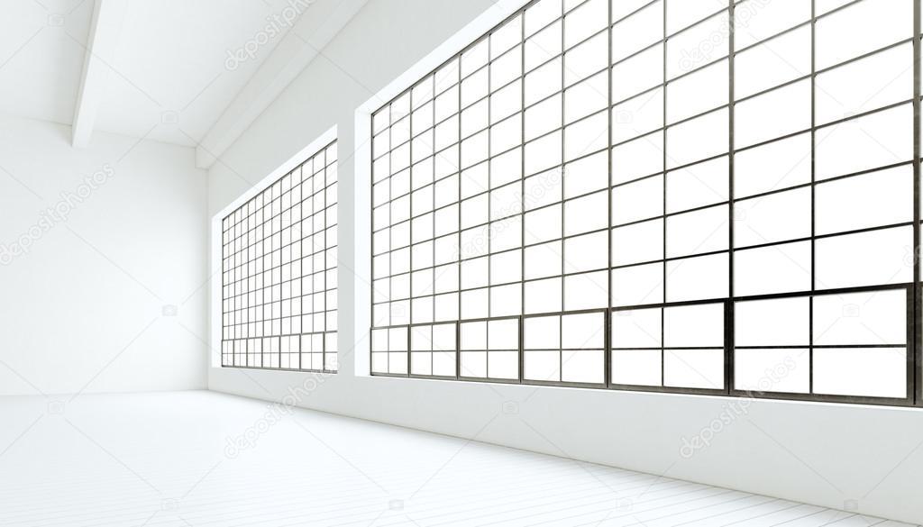 Empty Modern Industrial Expo Room Huge Panoramic Windowspainted White Wood Floorclean Walls