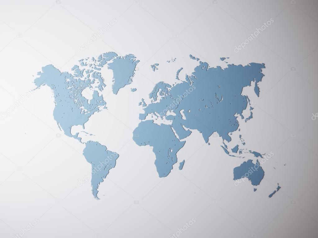 Blank Blue Texture Political World Map. 3D rendering. Empty Concrete ...
