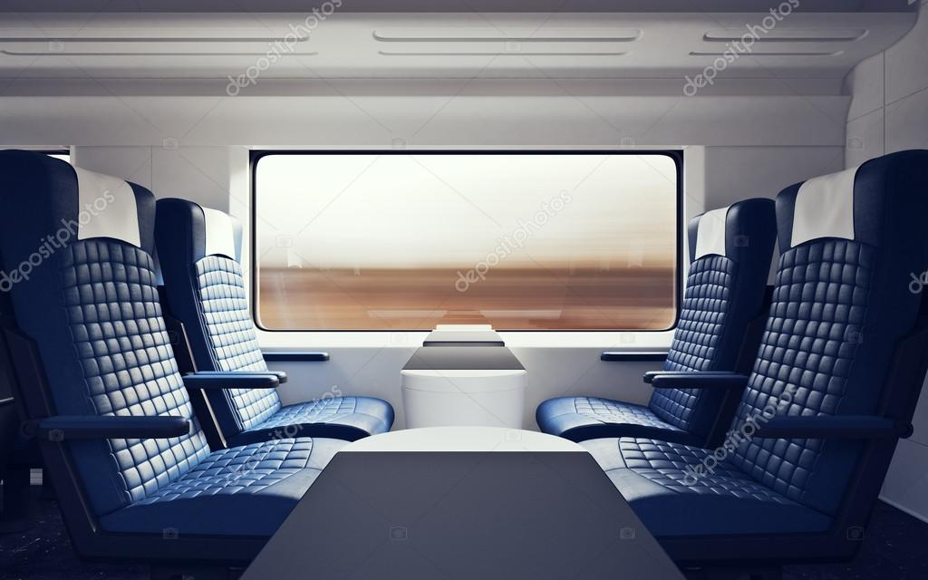 Interior Inside First Class Cabin Modern Speed Express Train Nobody Blue  Chairs Window Comfortable