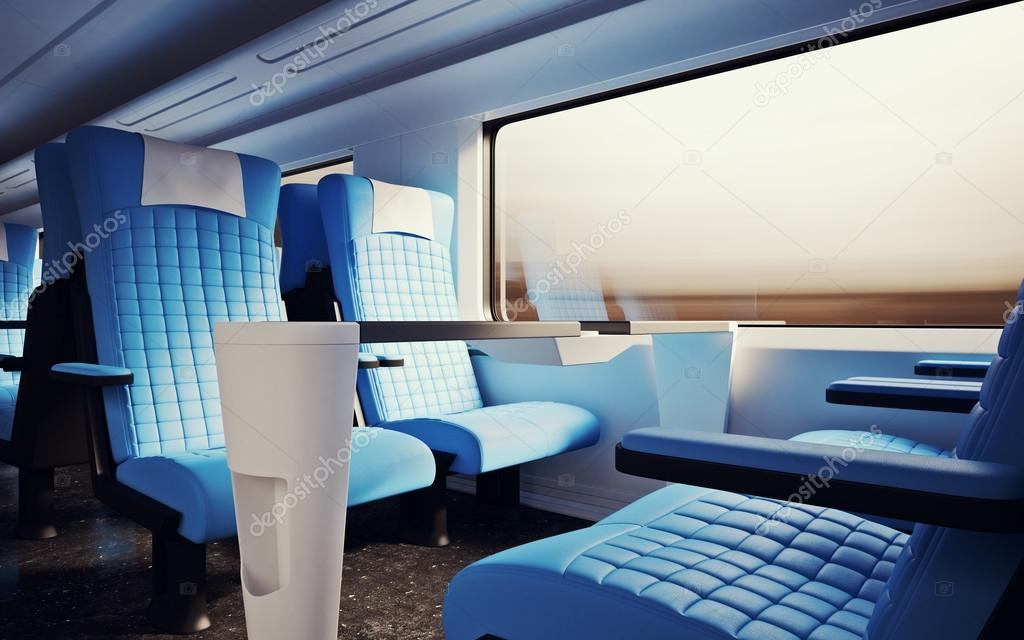 Interior Inside First Class Cabin Modern Speed Express Train Nobody Leather  Chairs Window Comfortable