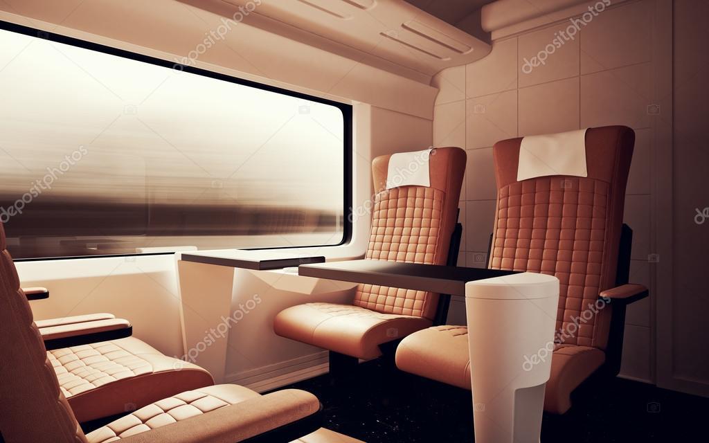 firstclass modern armchair. Interior Inside First Class Cabin Modern Speed Express Train Nobody Brown  Chairs Window Comfortable