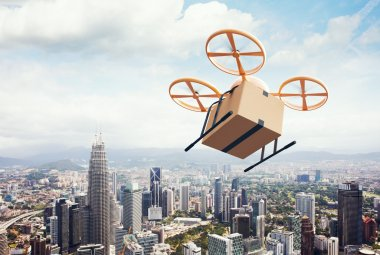 Image Yellow Generic Design Modern Remote Control Air Drone Flying Empty Craft Box Under Urban Surface.Blue Sky Clouds Background.Express Fast Delivery Service.Wide,Angle View.Film Effect 3D rendering