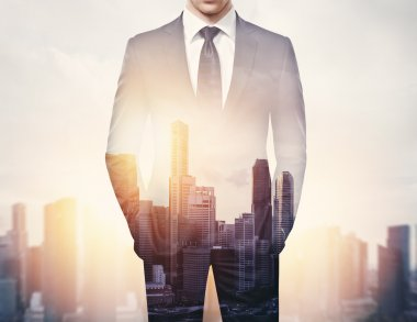 Businessman and city