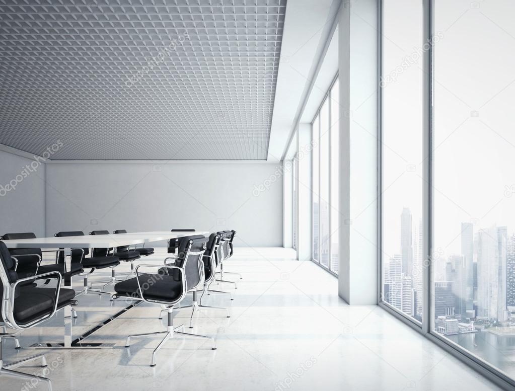 Kantoor interieur met grote ramen stockfoto kantver for Kantoor interieur