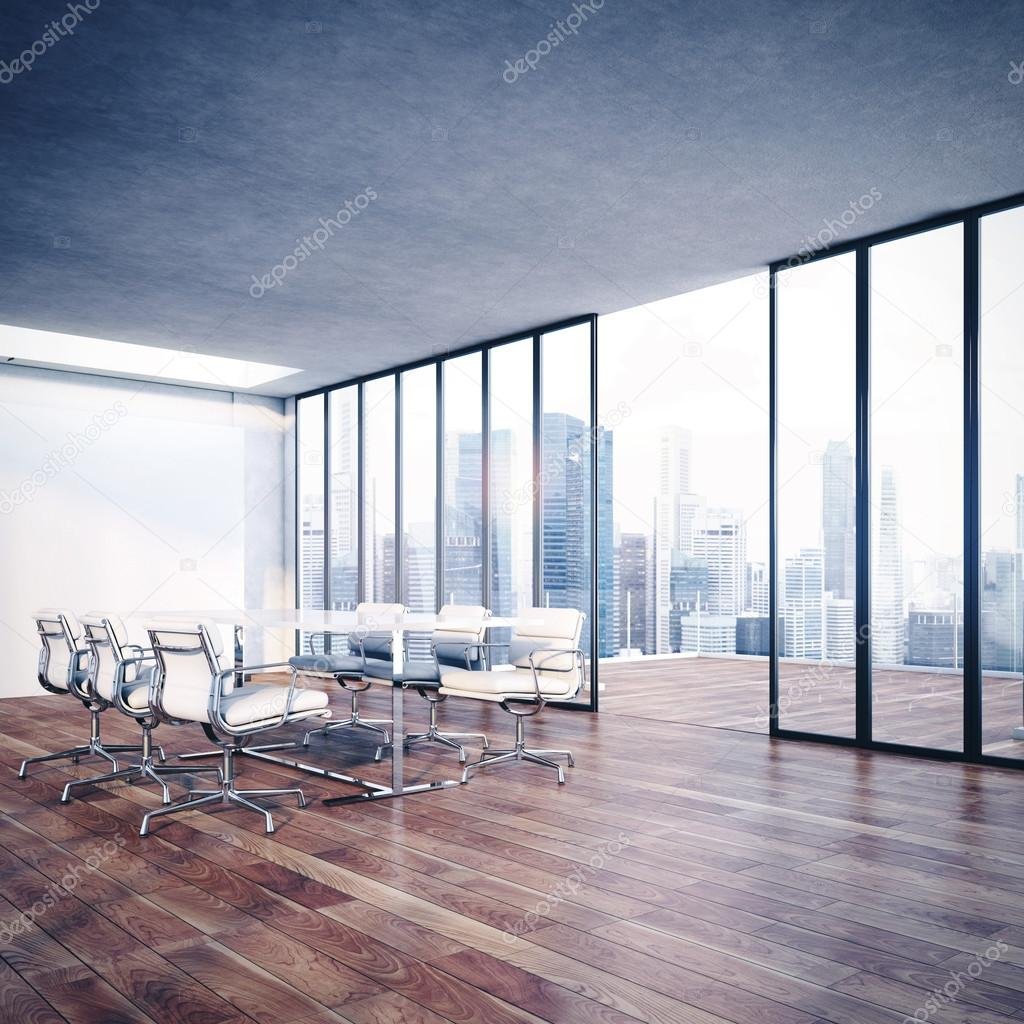 Contemporary office interior with cityscape