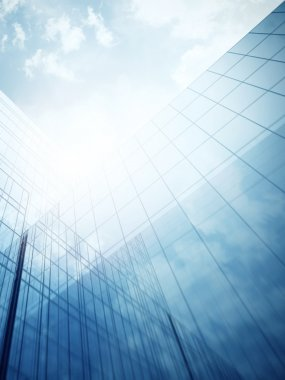 Skyscraper's exterior with blue glass walls