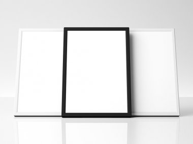 Three blank framed pictures