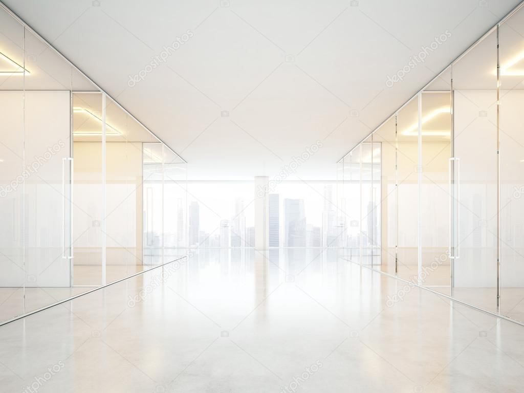 White office interior with windows