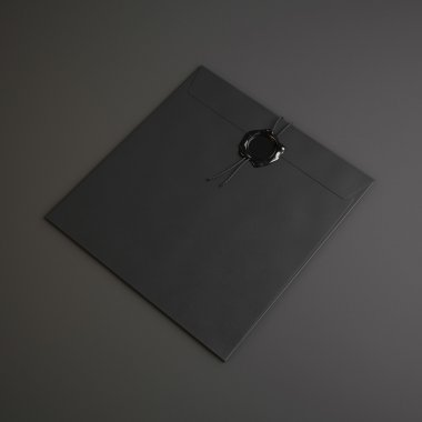 Black envelope with wax seal