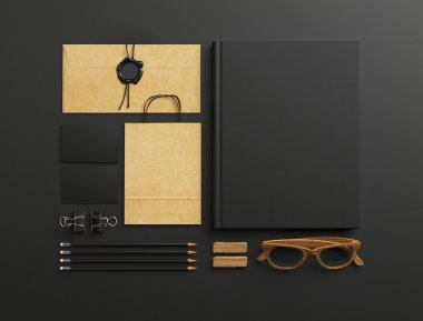 Set of blank elements on black background