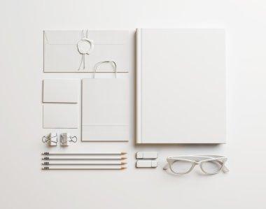 Set of white elements on white background