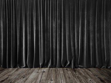 Dark grey curtains