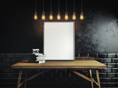 Canvas template on the table in black room with lamps hanging from ceiling stock vector