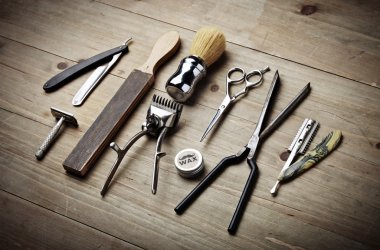Vintage tools of barber shop