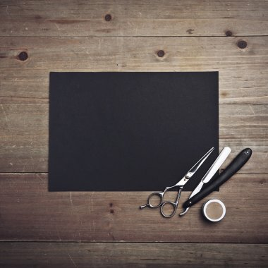 Barber tools and black page
