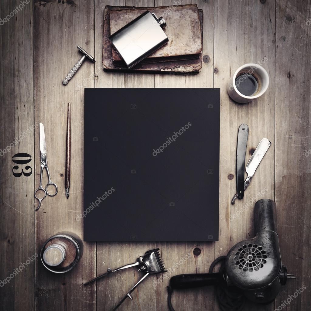 Tools of barber shop and black canvas