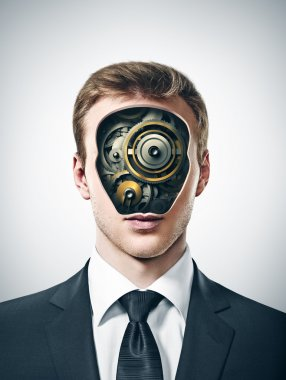 businessman with gears inside head
