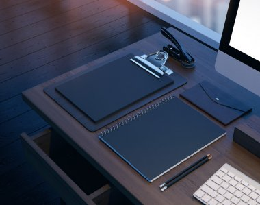 Mock up of workspace in the modern office. 3D rendering