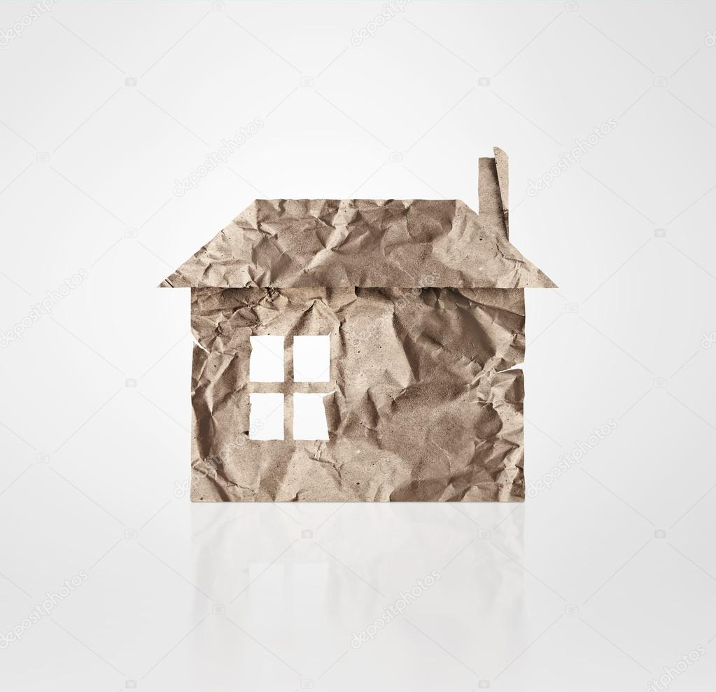 House icon made of paper