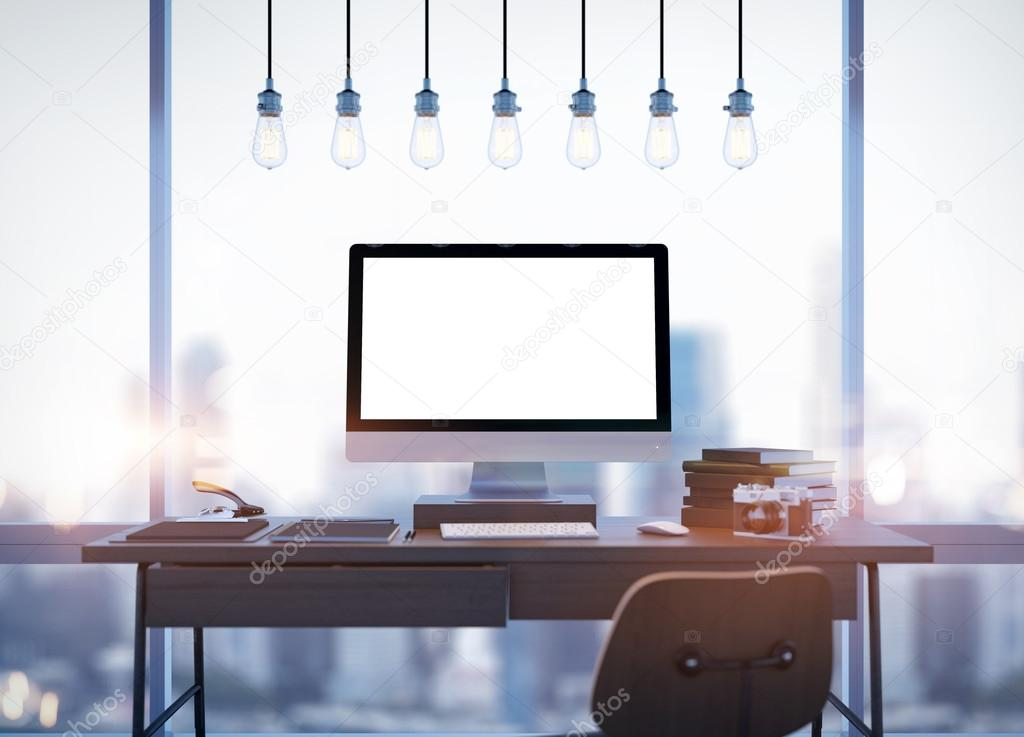 Mock up of generic design computer screen and workspace. 3D rendering