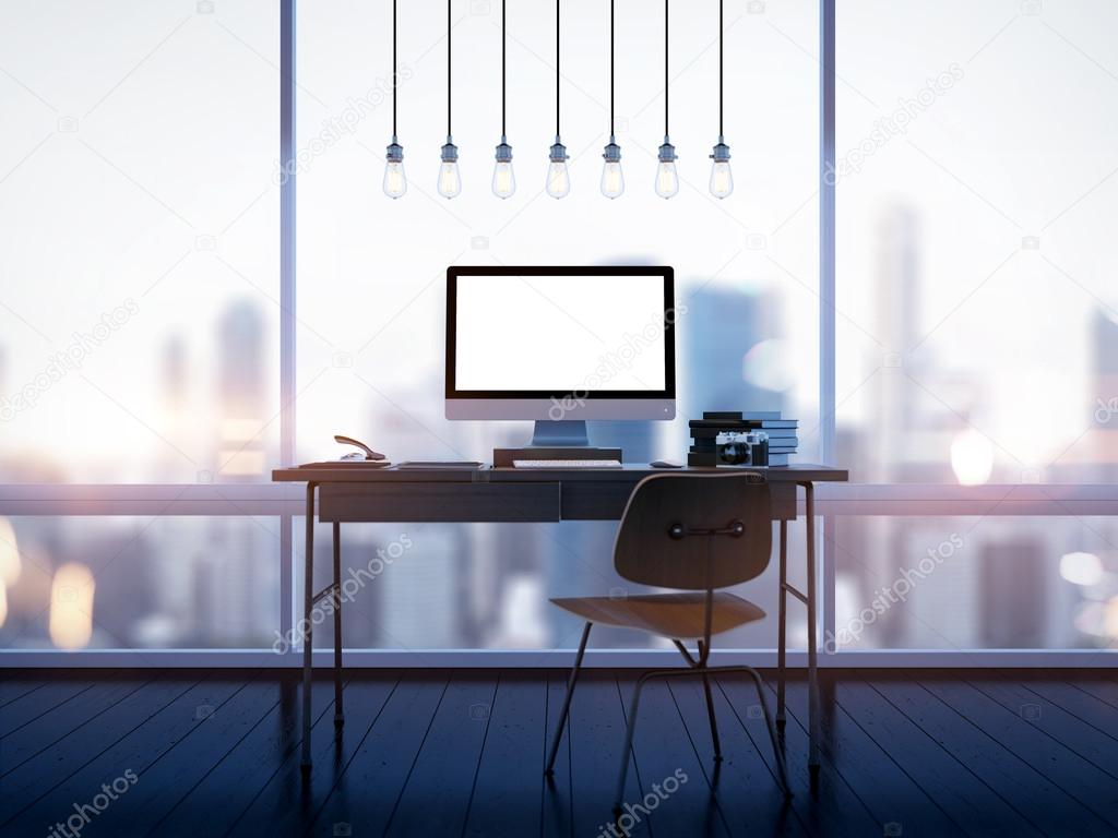 Mock up of generic design computer screen on workspace. 3D rendering