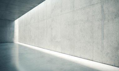 Blank space interior wall with lights