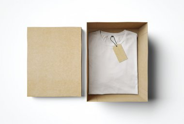 Empty box and white tshirt with label