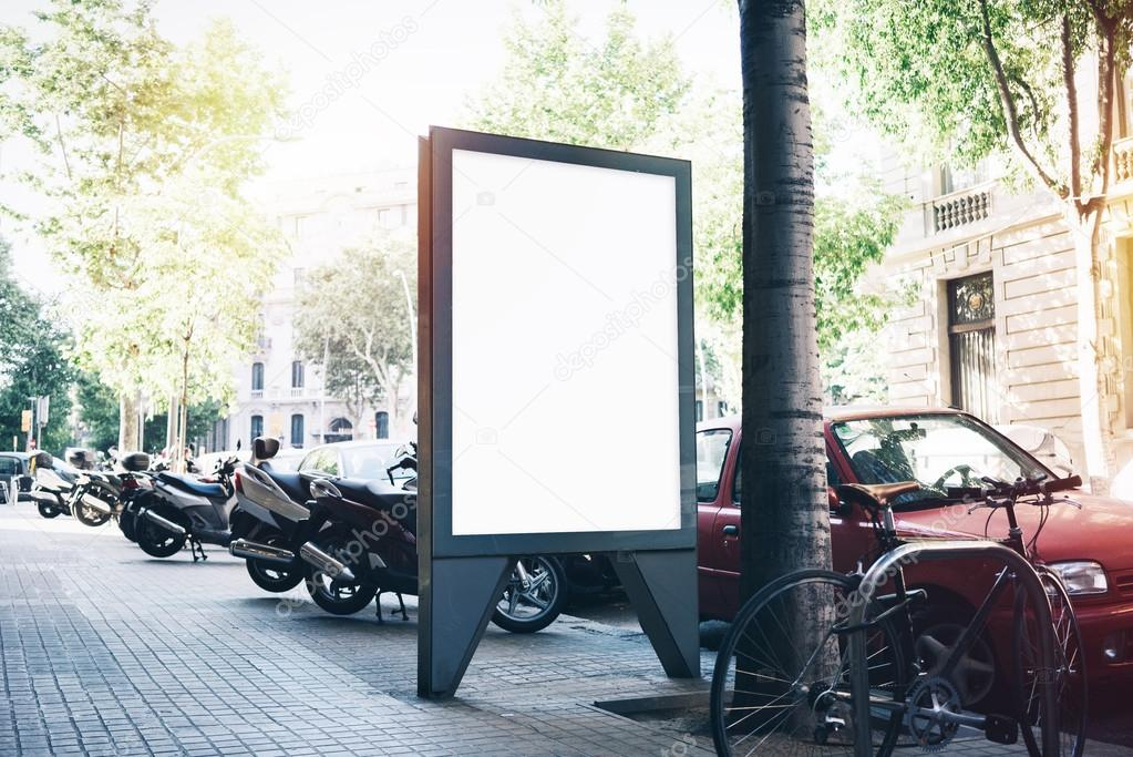 White blank mockup on the bus stop