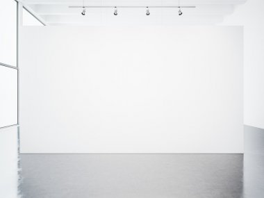 Mockup of empty white gallery interior. 3d render