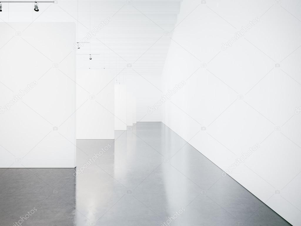 Modell für ein leeres Museum Galerie Interieur. 3D render ...