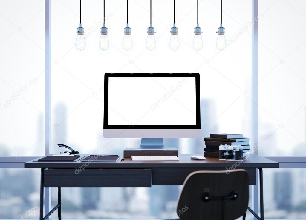 Moderne Lampen 85 : Mock up van moderne werkruimte met windows en lampen d rendering