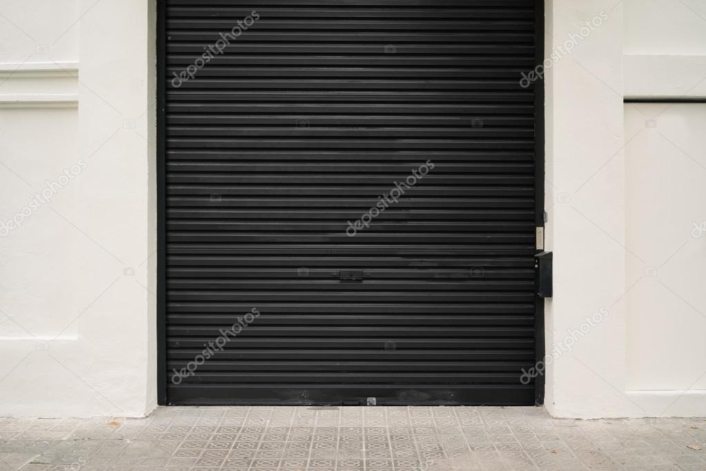 Roller Garage Door In Black U2014 Stock Photo