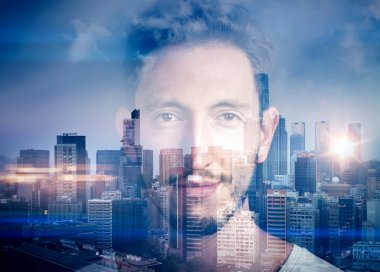 Portrait of  young man. Double exposure concept with man and city on the background. stock vector