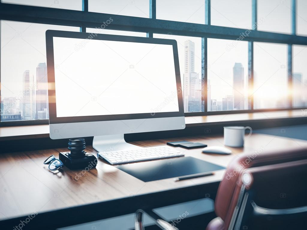 Classic 3d Desktop Wallpaper Hd Photo Of Classic Workspace With Panoramic Windows City At Sunrise In The Background 3d Rendering Stock Photo C Kantver 89265134