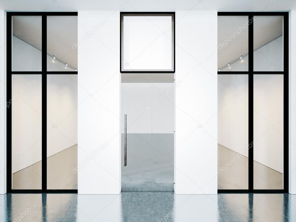 Cuarto vacío de la Galería contemporánea con marcos en blanco. 3D ...