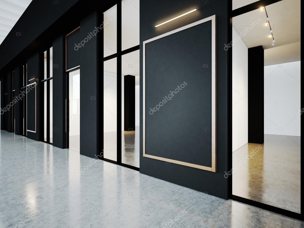 Habitaciones vacías negro en la Galería contemporánea con marcos en ...