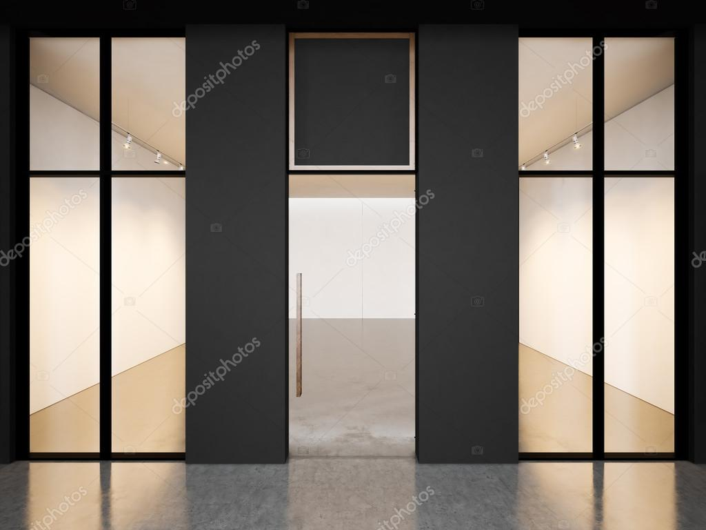 Cuarto vacío negro de Galería contemporánea con marcos en blanco. 3D ...