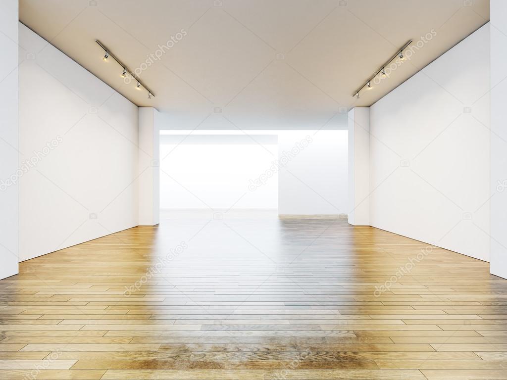 빈 갤러리 방 빈 벽과 나무 바닥. 3d 렌더링 — 스톡 사진 © kantver ...