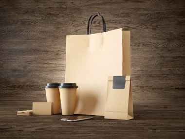 Set of brown pocket bag, two coffee cups, business cards and generic design smartphone. 3d render