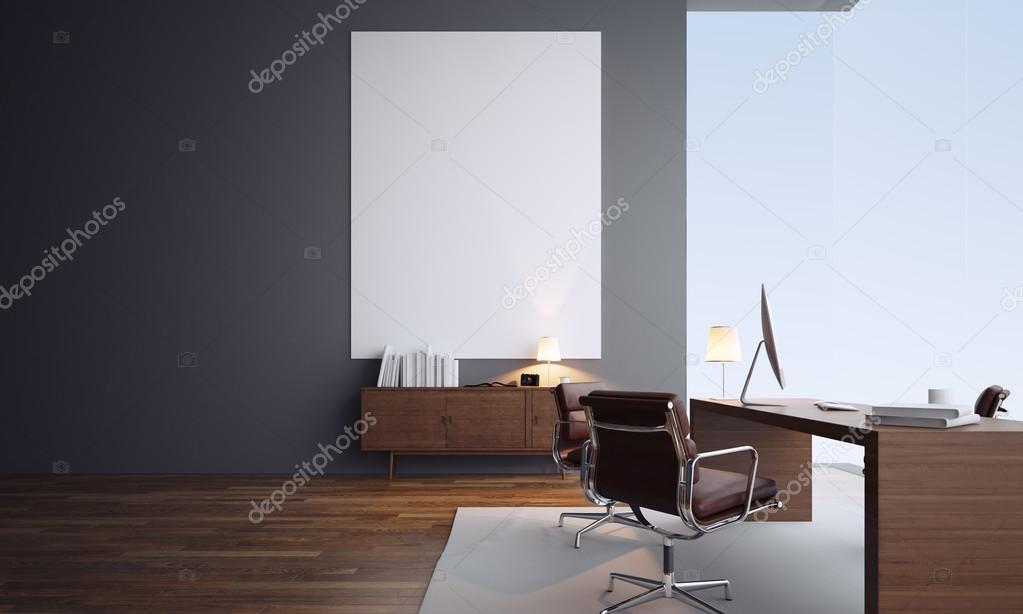 Contemporary Office Interior. Workspace In Loft With Generic Design  Computer, Wooden Floor And Panoramic View Of The City U2014 [著者]の写真 Kantver