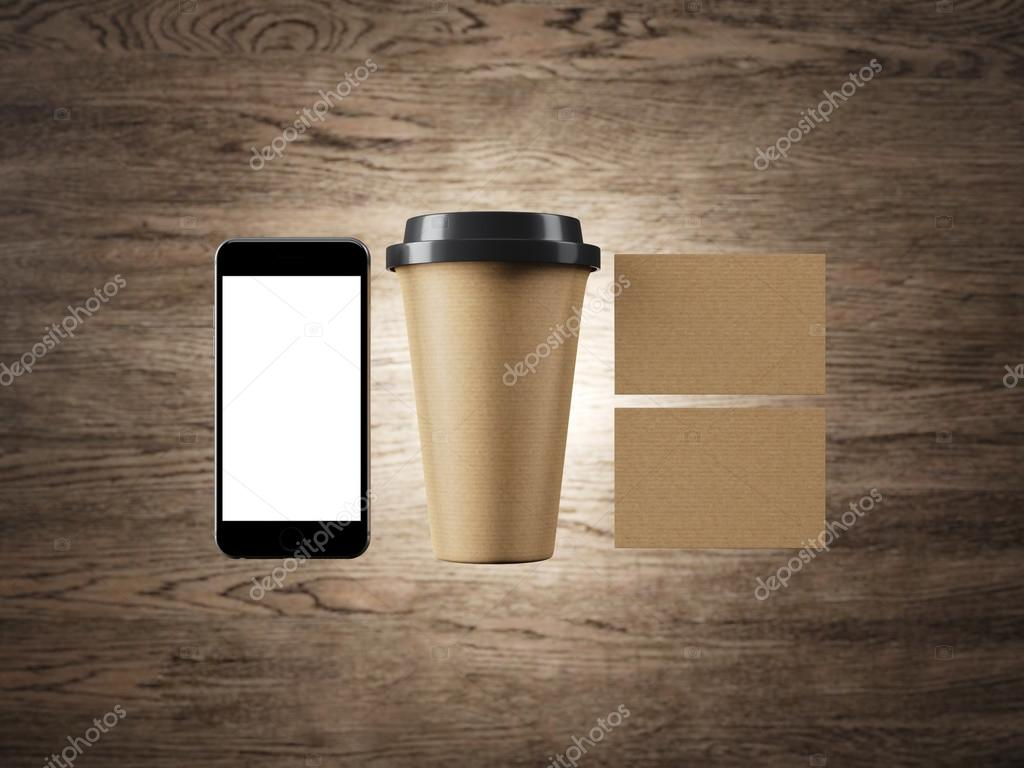 Ensemble De Lartisanat Tasse Caf Deux Cartes Visite Et Smartphone Conception